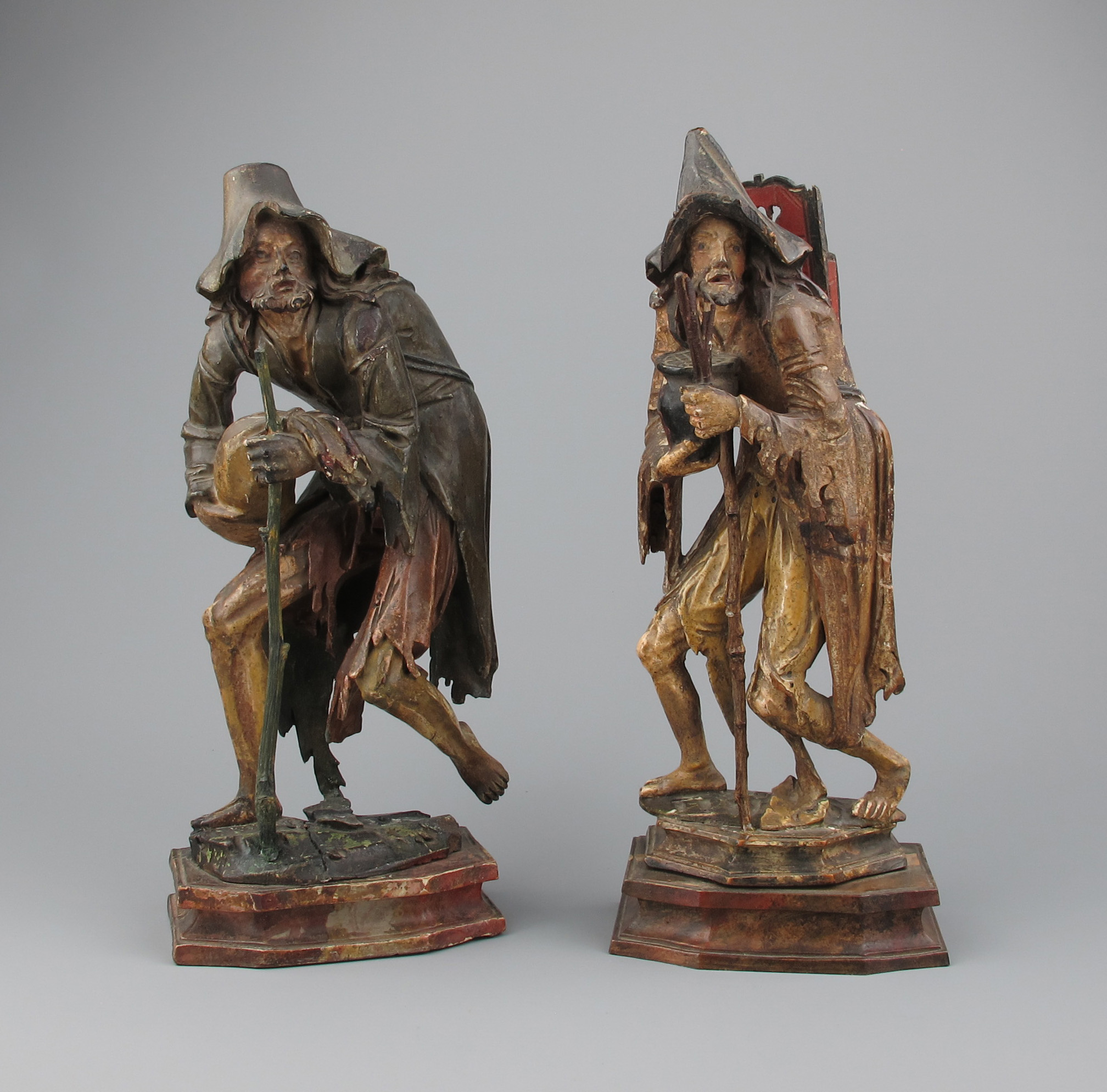 Pair carved wood beggars gröden italy th century