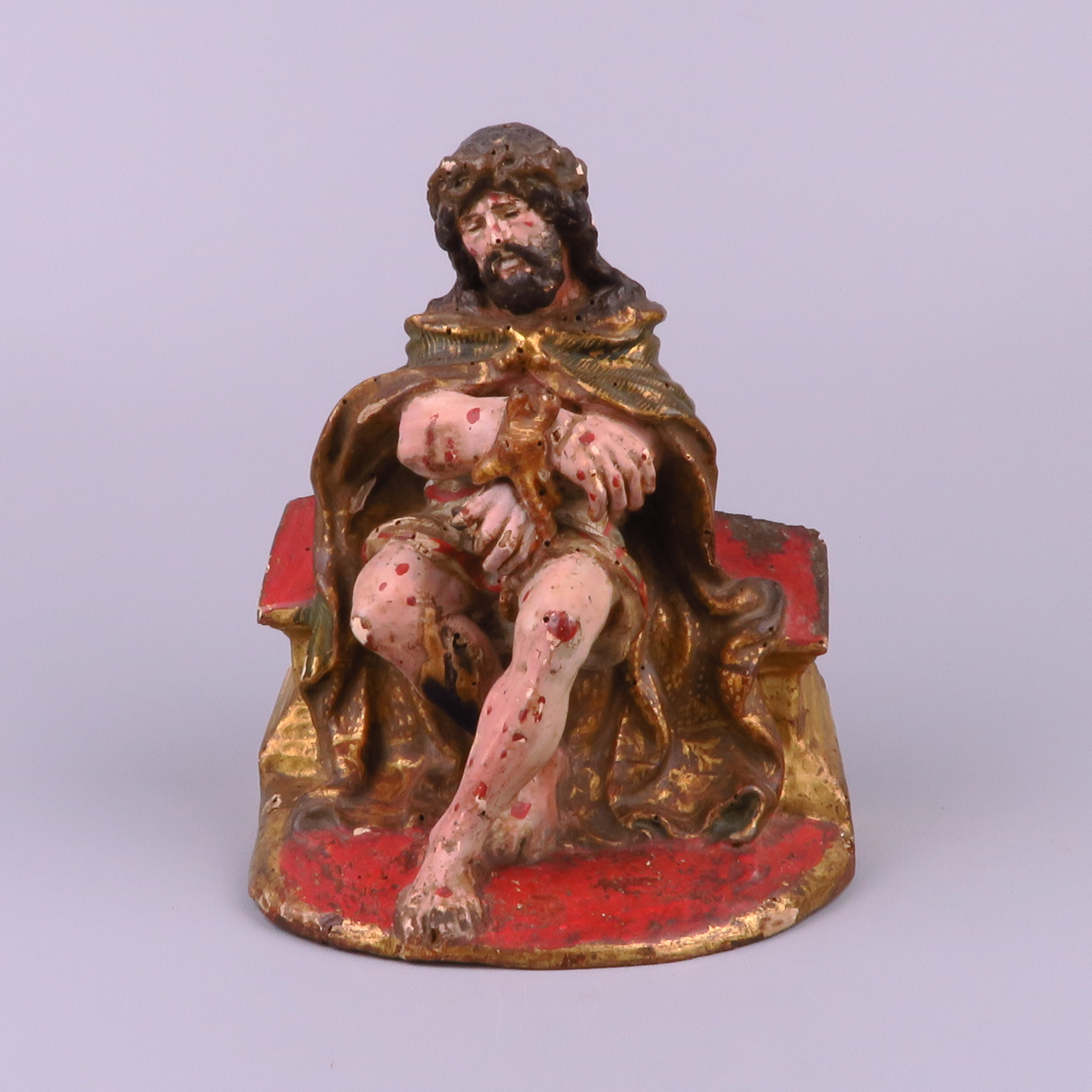 Carved wood sculpture christ on the cold stone brabant